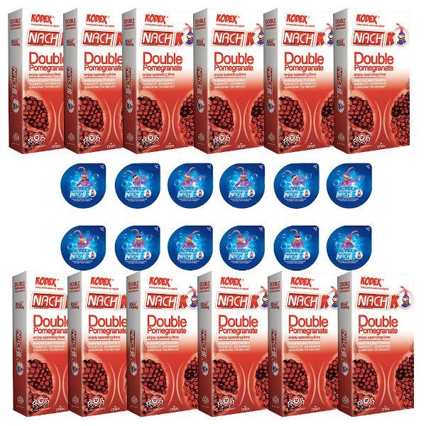 کاندوم ناچ کدکس مدل EDOUBLE POMOGRANET مجموعه 12 عددی به همراه کاندوم ناچ کدکس مدل بلیسر بسته 12 عددی
