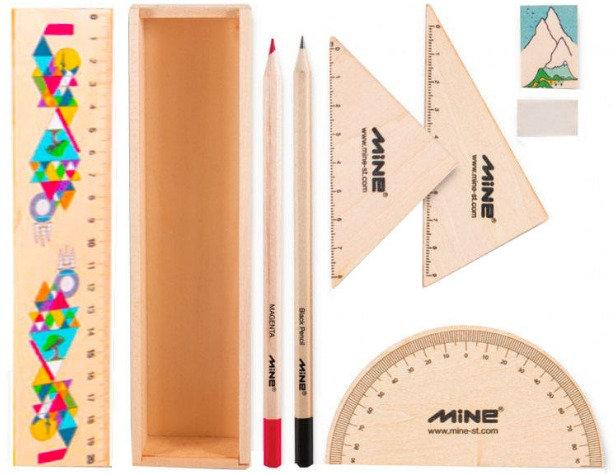 بسته لوازم تحریر ماین مدل timber set کد 6 -601 مجموعه 9 عددی