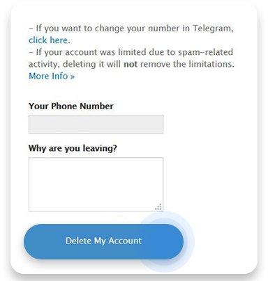 لینک مستقیم پاک کردن اکانت تلگرام