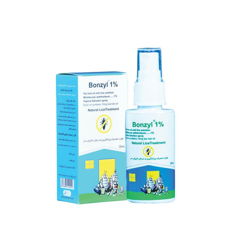 درمان شپش موی سر با اسپری ضد شپش مدل Bonzyl حجم 35 میلی لیتر