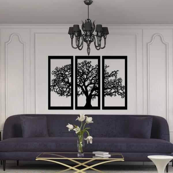 تابلو ۳ تکه سالی وان مدل درخت رنگ مشکی