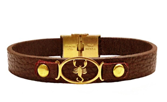 دستبند چرمی مانی چرم طرح ماه تولد آبان کد BL-178 تک سایز