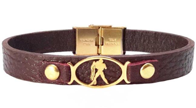 دستبند چرمی مانی چرم طرح ماه تولد بهمن کد BL-181 تک سایز