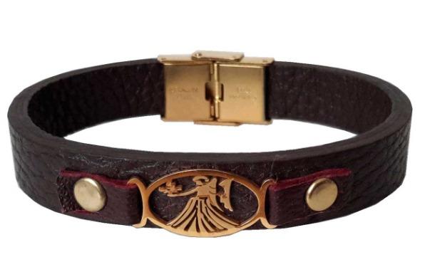 دستبند چرمی مانی چرم طرح ماه تولد شهریور کد BL-176 تک سایز