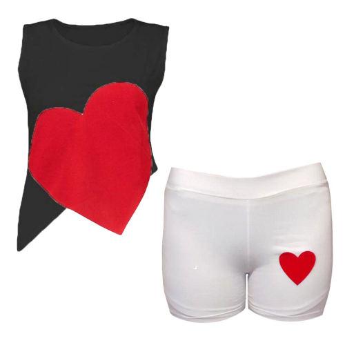 ست تاپ و شلوارک زنانه طرح قلب کد 4734