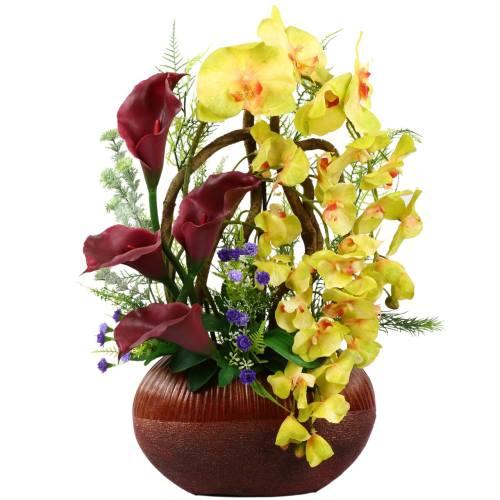 گلدان به همراه گل مصنوعی هومز طرح ارکیده - شیپوری مدل 30781