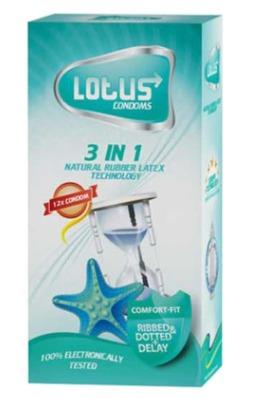 کاندوم لوتوس مدل 3in1 بسته 12 عددی