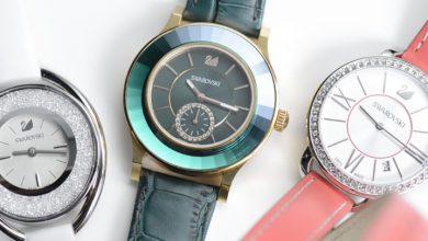 تصویر بهترین ساعت زنانه سواروسکی بند چرم و فلزی شیک